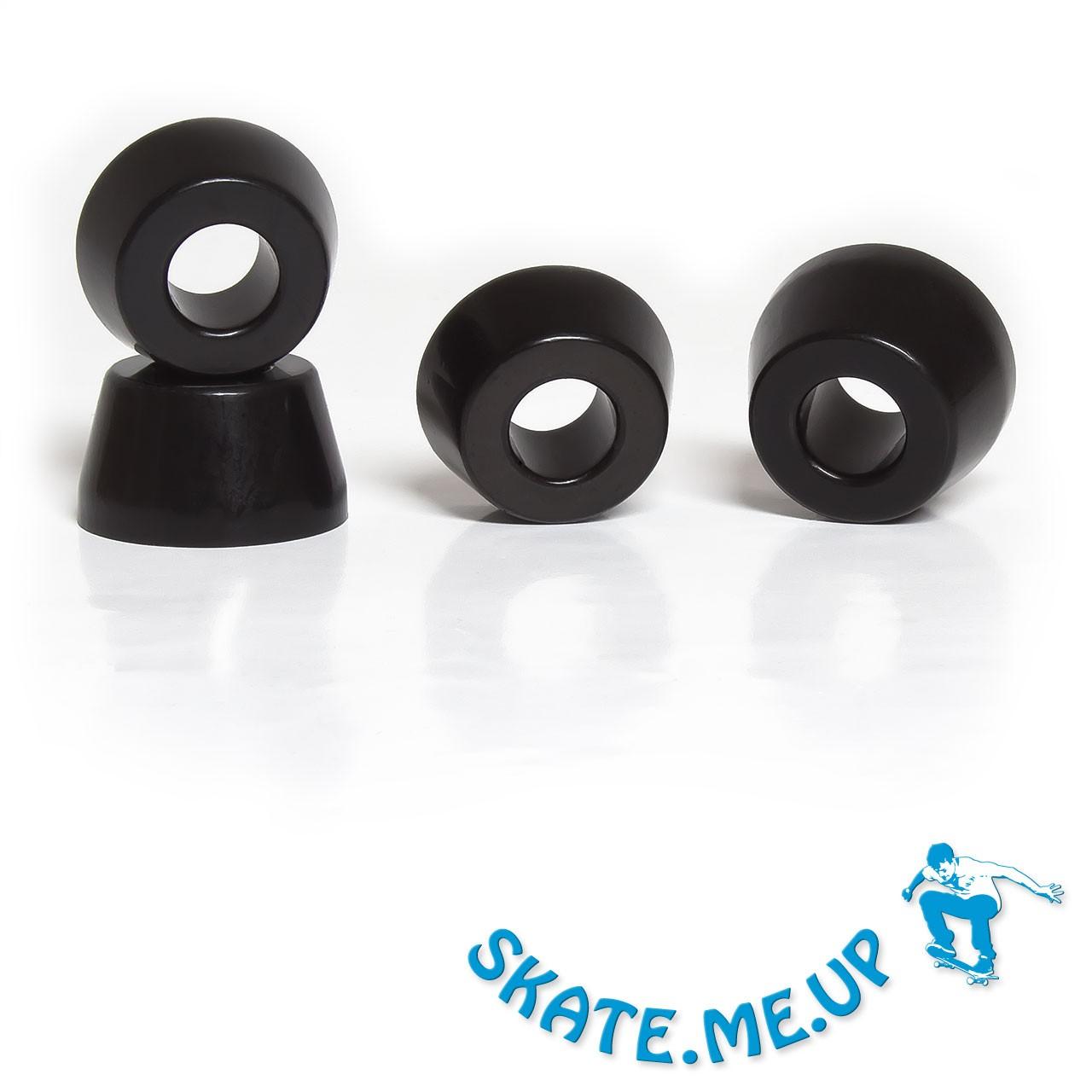 Skateboard / Longboard - Bushings - Lenkgummi Set für zwei Achsen - 85A schwarz konisch [weicher]