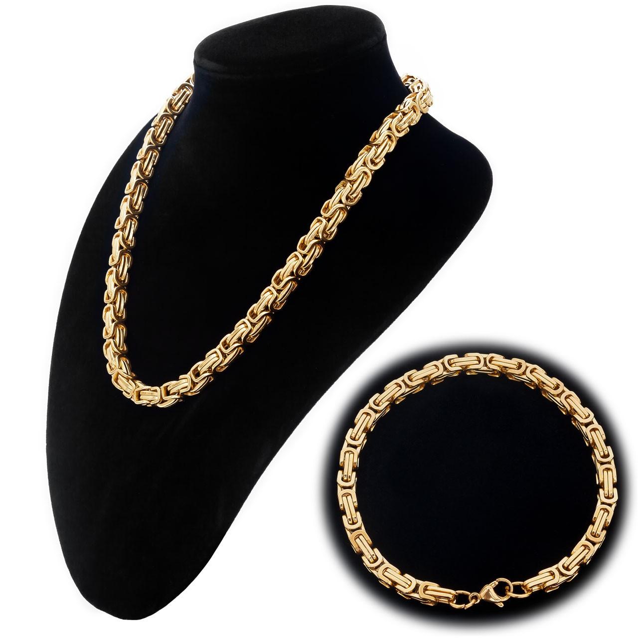 Byzantiner Königskette Armband Panzerkette Edelstahl Farbe gold