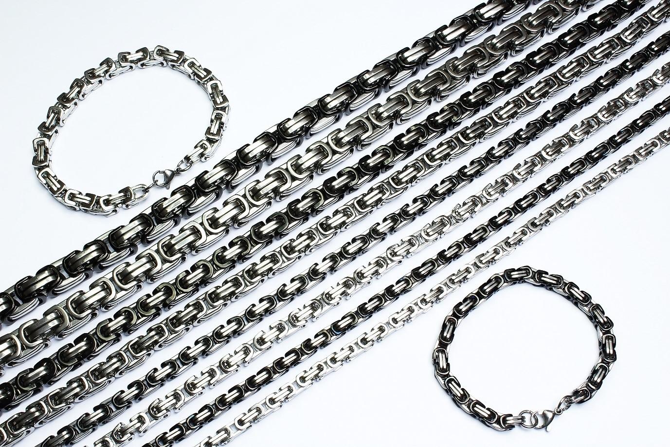Byzantiner Königskette mit Armband Panzerkette Edelstahl silber und silber-schwarz
