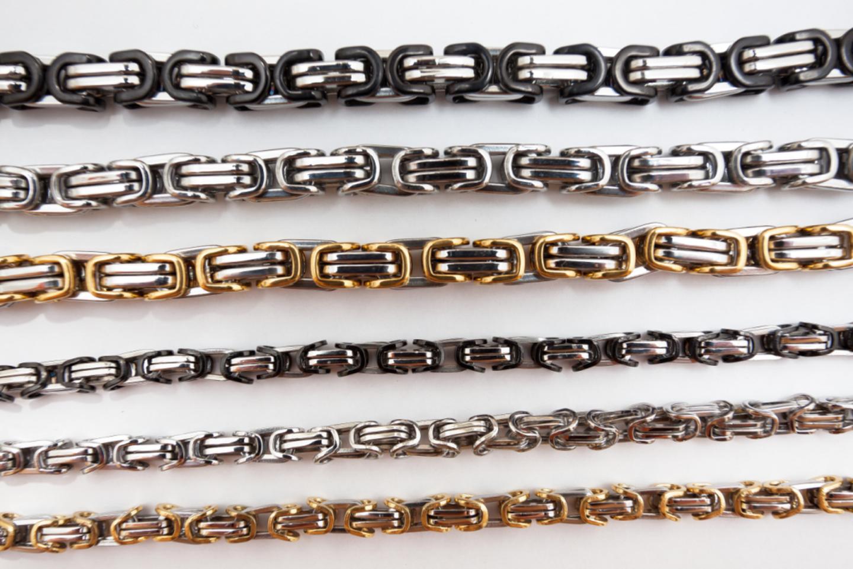 Königskette Armband Panzerkette Edelstahl  16 bis 27 cm