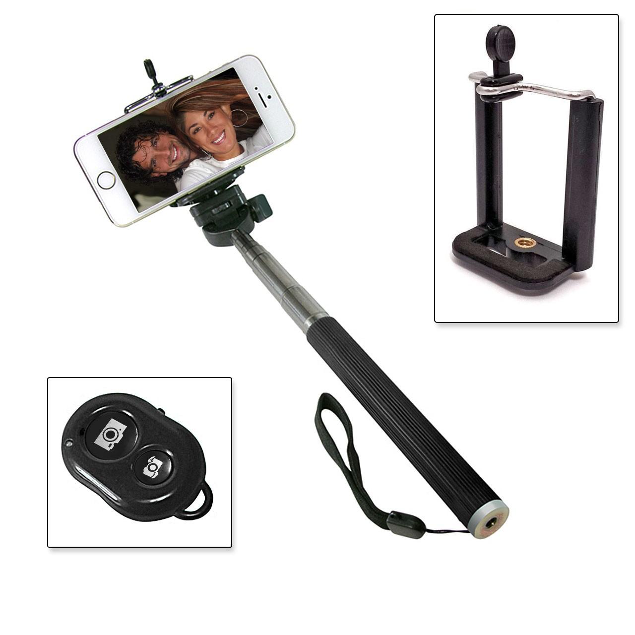 Selfie Stange Teleskop Stick Stab + Bluetooth IOS Android Fernbedienung Schwarz