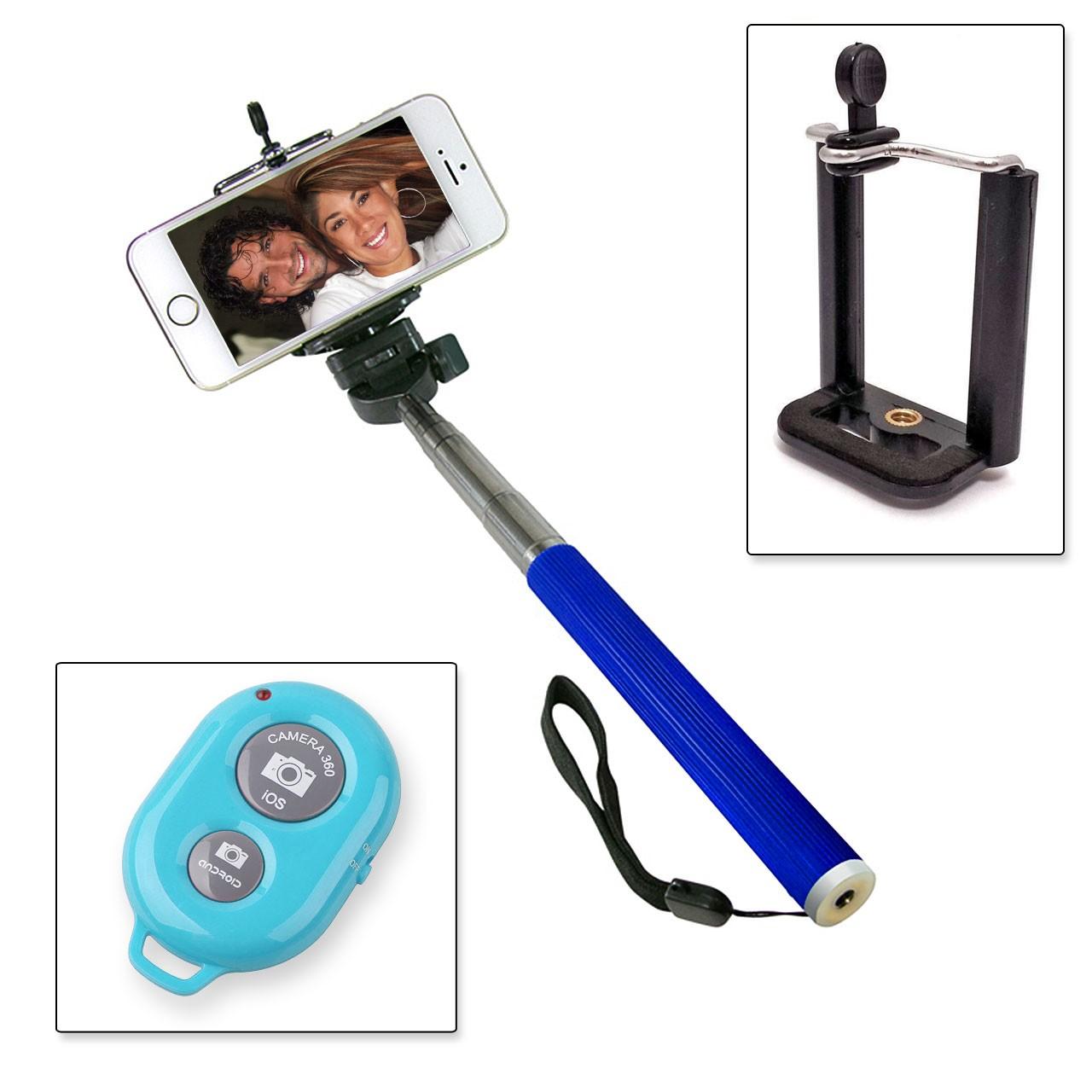 Selfie Stange Teleskop Stick Stab + Bluetooth IOS Android Fernbedienung  Blau