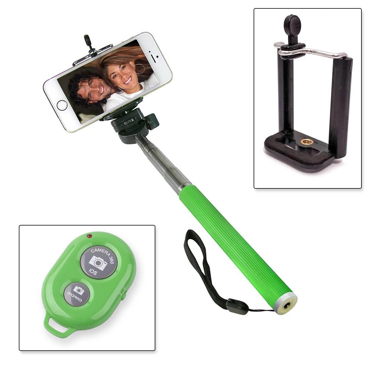 Selfie Stange Teleskop Stick Stab + Bluetooth IOS Android Fernbedienung grün