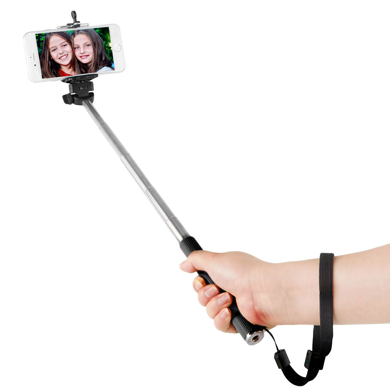 selfie stick in hand
