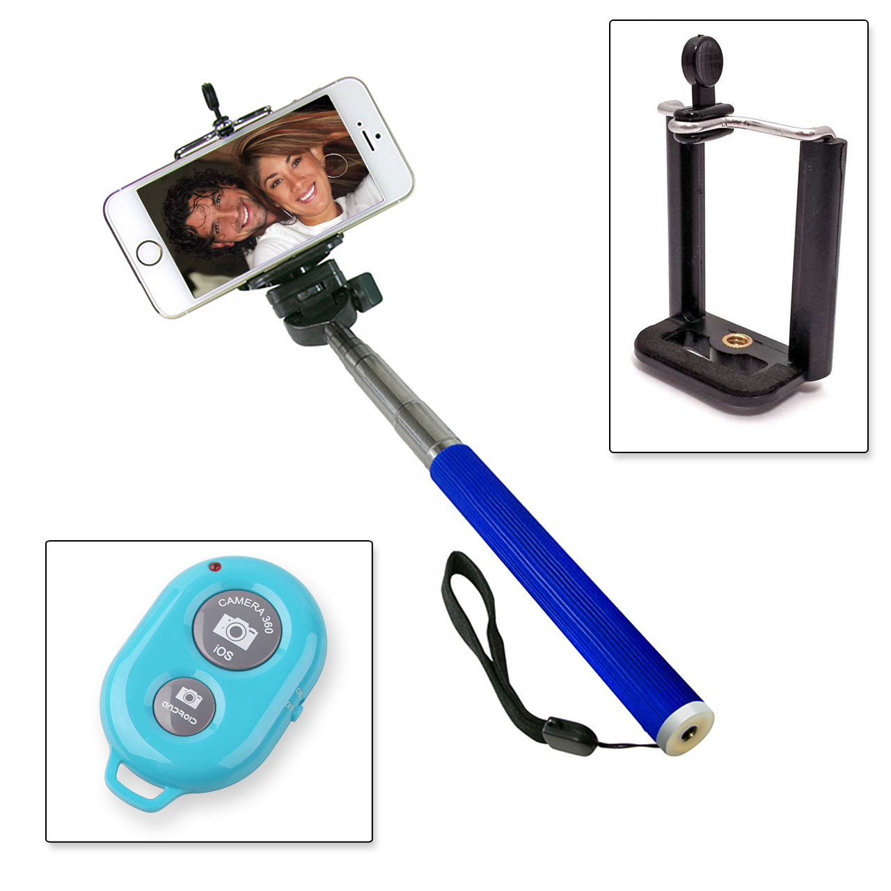 selfie stick blue